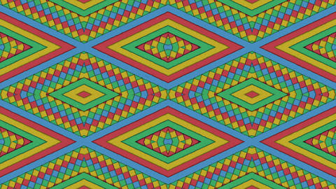 Kaleidoscopic Shapes Stripes And Rhombus Colorful Seamless Looping Backgrounds Set