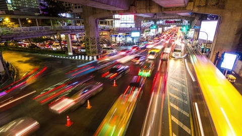 Bangkok traffic under bridge time lapse Footage