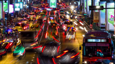 Bangkok evening traffic time lapse Footage