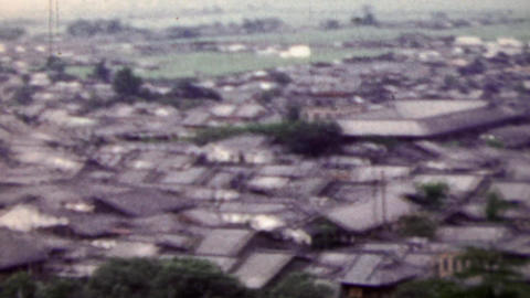 1951: Tightly packed Japanese residential building quaint town Footage