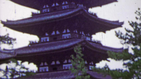 1951: Large Japanese sacred pagoda building rising tall Footage