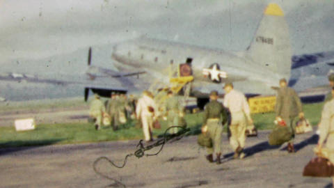 1951: US Army men boarding US Air Force military airplane Footage