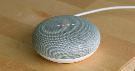Google Home Mini On The Wooden Table Footage
