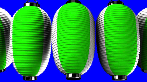 Green and white paper lanterns on blue chroma key Animation