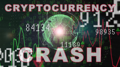 Cryptocurrency crash text on Stock market graph with bar chart price display Animation
