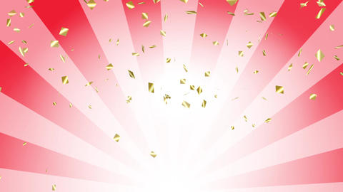 Confetti gold radial background red Animation