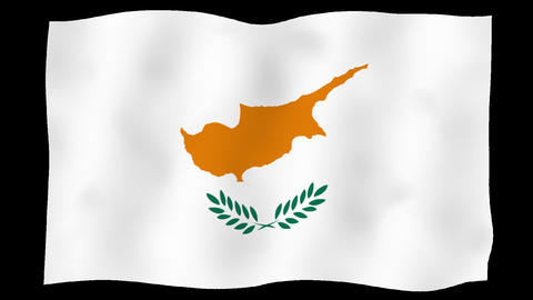 Flag of Cyprus, 60 fps, slow motion, lopped, alpha channel Animation