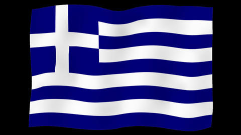 Flag of Greece, 60 fps, slow motion, lopped, alpha channel Animation