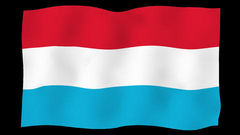 Flag of Luxembourg, 60 fps, slow motion, lopped, alpha channel Animation