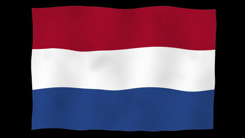 Flag of Netherlands, 60 fps, slow motion, lopped, alpha channel Animation