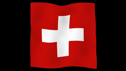 Flag of Switzerland, 60 fps, slow motion, lopped, alpha channel Animation