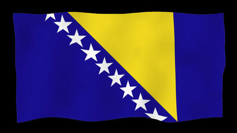 Flag of Bosnia and Herzegovina, 60 fps, slow motion, lopped, alpha channel Animation