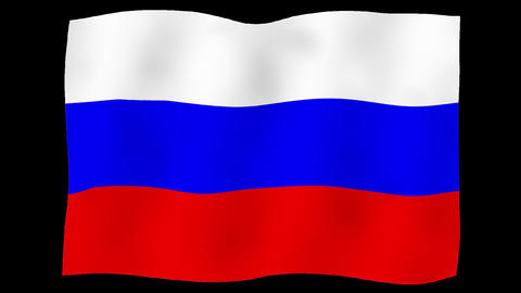 Flag of Russia, 60 fps, slow motion, lopped, alpha channel Animation