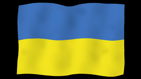 Flag of Ukraine, 60 fps, slow motion, lopped, alpha channel Animation
