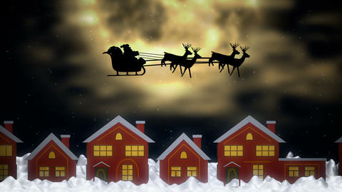 Santa Claus bringing Christmas gifts to houses of small towns Animation