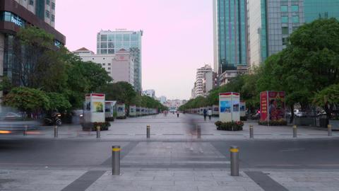 Time lapse of Nguyen Hue Walking Street at dawn Live Action