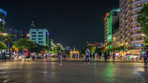 Time lapse of Nguyen Hue Walking Street at night GIF