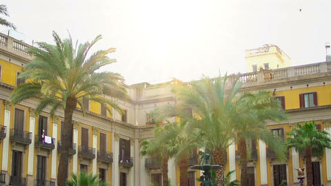 Building on Royal Square in Barcelona, famous historic landmark, architecture Footage