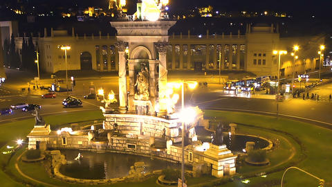 Placa dEspanya square in night Barcelona, evening aerial cityscape, history Live Action
