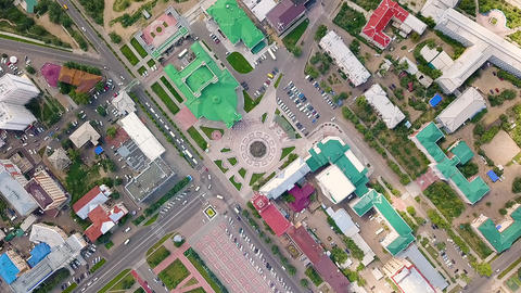 Russia, Ulan-Ude. Theater Square named after Lhasaran Linhovoin, From Drone, Footage