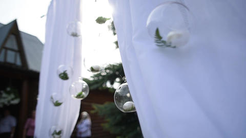 Beautiful decor for outside wedding celebration Footage