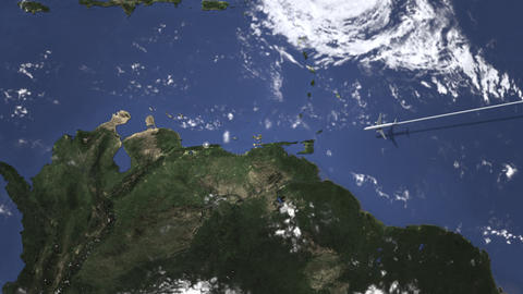 Airplane flying to Caracas, Venezuela on the map, 3D animation Footage
