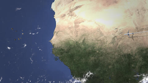 Airplane flying to Dakar, Senegal on the map, 3D animation Footage