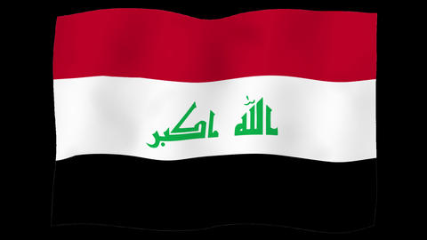 Flag of Iraq, 60 fps, slow motion, lopped, alpha channel Animation