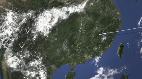 Airplane flying to Guiyang, China on the map, 3D animation Footage