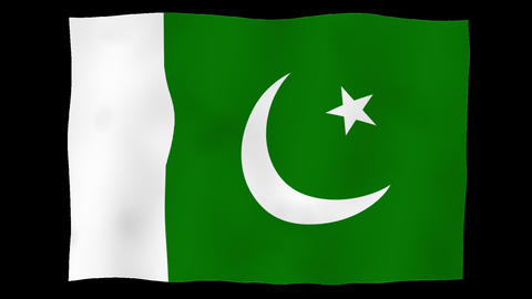 Flag of Pakistan, 60 fps, slow motion, lopped, alpha channel Animation