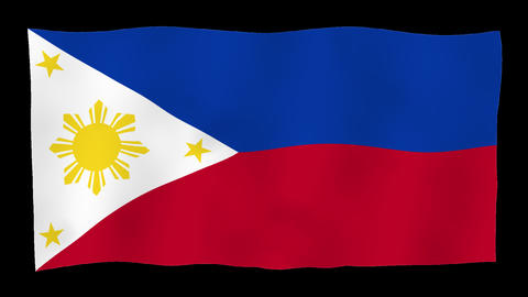 Flag of Philippines, 60 fps, slow motion, lopped, alpha channel Animation