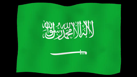 Flag of Saudi Arabia, 60 fps, slow motion, lopped, alpha channel Animation