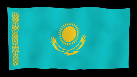 Flag of Kazakhstan, 60 fps, slow motion, lopped, alpha channel Animation