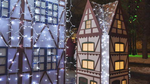 Fabulous Christmas decorations on the streets of the city, they are decorated Footage