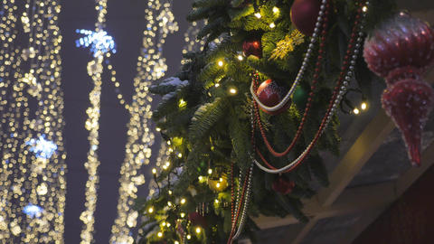 Decorative Christmas decorations that hang on the street Live Action