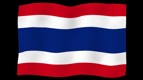 Flag of Thailand, 60 fps, slow motion, lopped, alpha channel Animation