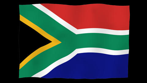 Flag of South Africa, 60 fps, slow motion, lopped, alpha channel Animation