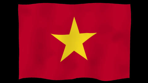 Flag of Viet Nam, 60 fps, slow motion, lopped, alpha channel Animation