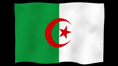 Flag of Algeria, 60 fps, slow motion, lopped, alpha channel Animation