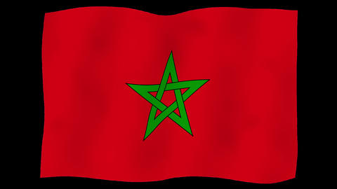Flag of Morocco, 60 fps, slow motion, lopped, alpha channel Animation