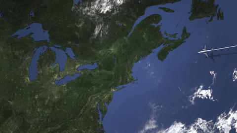 Airplane flying to Toronto, Canada on the map, 3D animation Footage