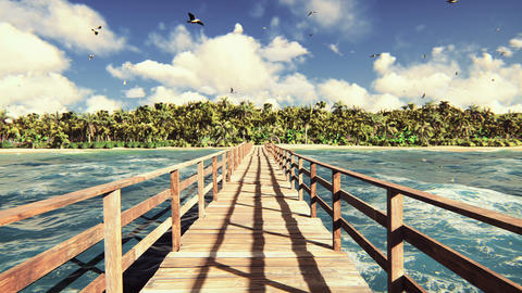 The camera flies over a wooden bridge on a tropical island with an exotic white Animation