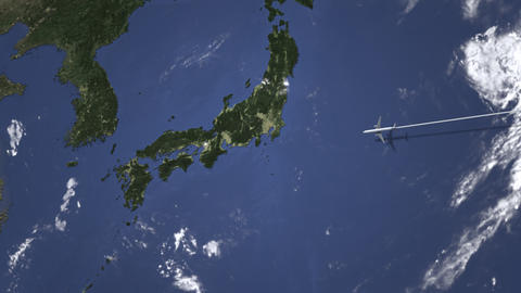 Airplane flying to Osaka, Japan on the map, 3D animation Footage