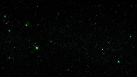 Green Glowing Starry Sky Starfield Motion Graphic Background Animation