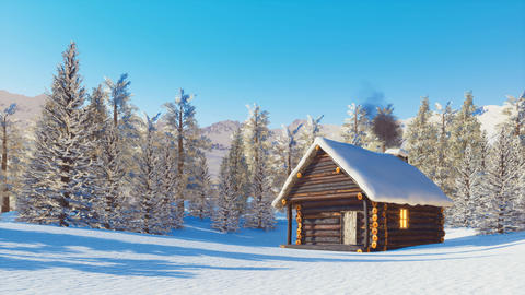 Snowbound log cabin in mountains at winter day ライブ動画