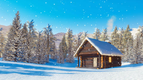 Snowbound mountain cabin at snowfall winter day cinemagraph 영상물