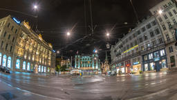 Zurich Switzerland time lapse 4K, night city skyline timelapse and tram at Footage