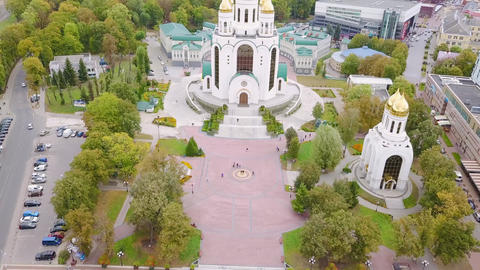 Russia, Kaliningrad. Victory Square and the Cathedral of Christ the Savior, From Footage