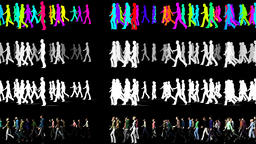 Walking Crowd in One Direction - 3D Animation Video Element Animation