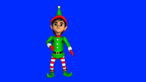 Cute elf dancing hip hop isolated on blue screen. Seamless funny Christmas Animation